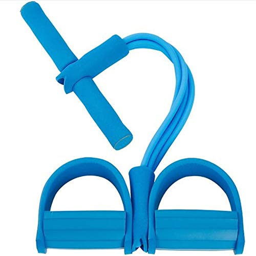 ZoneYan Multifunktions-Spannseil, Pedal-Widerstandsband, Bodybuilding Expander, Elastische Zugseil Trainingsgeräte, Leg Exerciser Pull Rope, Pedal Body Bauchtrainer, Resistance Bands Situps (Blue)