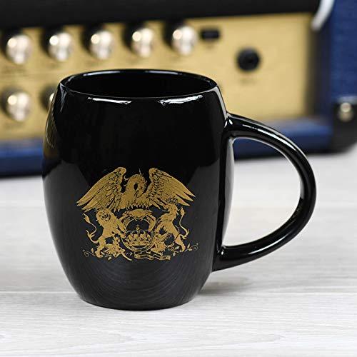 Queen MGO25602 MGO25602-Taza Ovalada, 425 ml, Color Dorado, cerámica