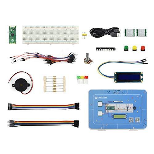 Coolwell Raspberry Pi Pico Basic Kit Pack, MicroPython Programming Learning Kit with The Pico+ Breadboard +LCD1602 RGB Module + PIR Sensor+RGB LED,etc