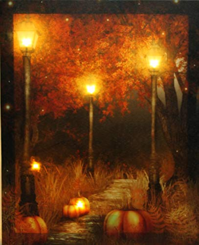 Oak Street Wholesale LED Lighted Pumpkin Fall Scene Canvas Wall Art Harvest
