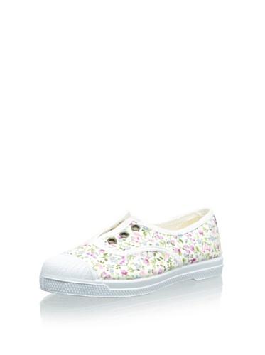 Natural World Zapatos DE Algodón con Flores Fondo Caucho 471505 Blanco