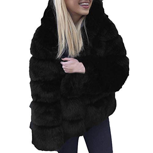 LEXUPE Women Autumn Winter Warm Comfortable Coat Casual Fashion Jacket Faux Mink Winter Hooded New Faux Fur Jacket Thick Outerwear Jacket Black