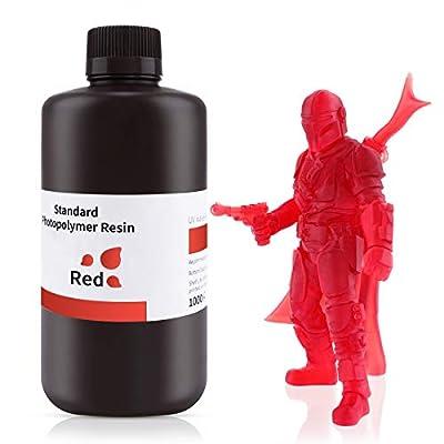 ELEGOO 3D Printer Rapid Resin, 405nm LCD UV-Curing Resin Standard Photopolymer Resin for LCD 3D Printing Clear Red 500G
