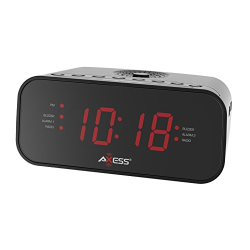 """Axess CKRD3803 1.2"""" Red LED Display Clock with Digital AM/FM Radio, Dual Alarm Settings, Calendar Function, Aux Input Jack, Battery Backup for Power Interruption (Batteries not Included)"""