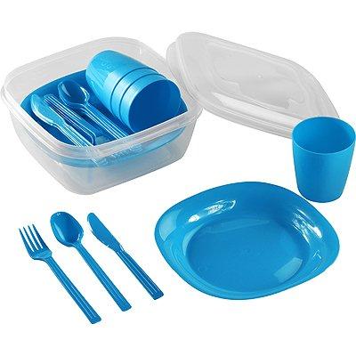 hegahogar Picknickgeschirr Picknickbesteck Campinggeschirr Reisebesteck für 4 Personen 22-teilig Robust (Blau)