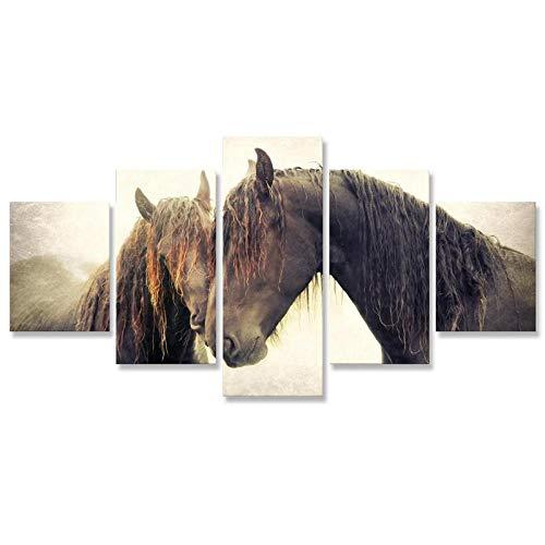 rkmaster-dier paard canvas schilderij 5 panelen canvas afdrukken schilderij muurkunst canvas afdrukken woonkamer decoratie foto's