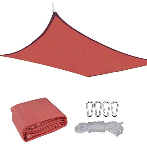AEF Sun Shade Sail Rectangle Breathable UV Block Sunshade Sail with PE Rope for Patio Backyard Garden Pergola Decking Swimming Pool Outdoor,Red,3.6 x 4.88m/11.8'x16'