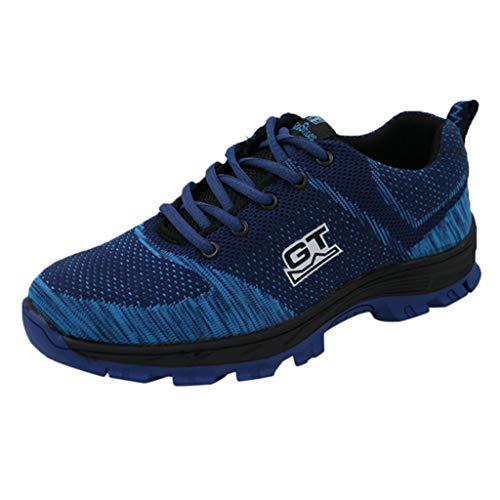 BaojunHT® Herren Atmungsaktive Sicherheits-Sportschuhe Frauen Ultraleichter Schutz Zehenkappe Zwischensohle Anti-Pannenschuhe, Blau - blau - Größe: 43 EU