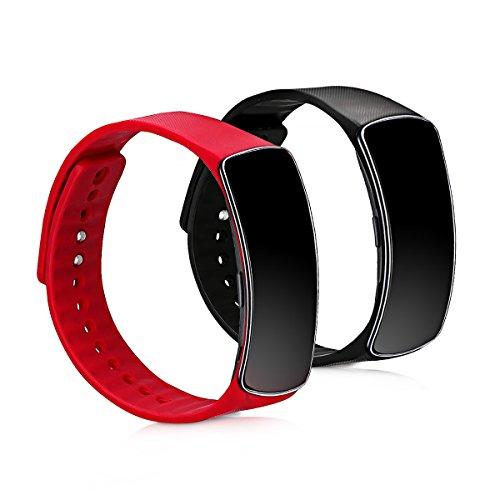 kwmobile 2X Pulsera Compatible con Samsung Gear fit R350 - Brazalete de Silicona en Rojo/Negro sin Fitness Tracker