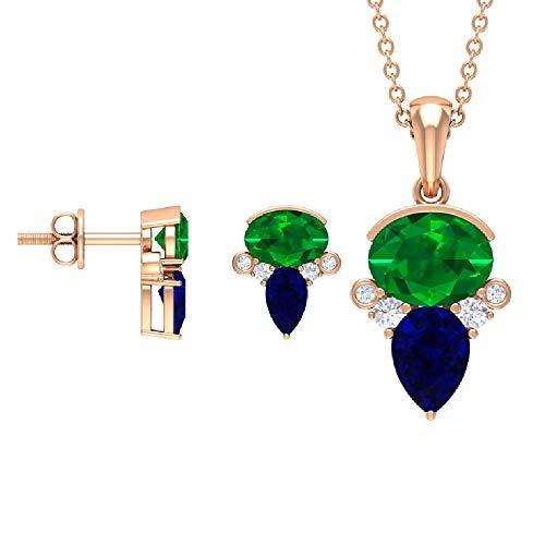 Rosec Jewels 18 quilates oro rosa pera ovalada redonda Blue Green Blue Sapphire Emerald Diamond