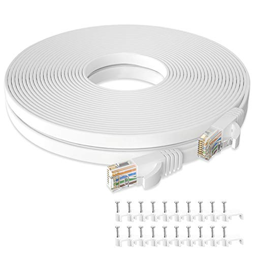 Cat 6 Ethernet Cable 50 ft, Flat Rj45 High Speed Internet Cable, Solid Computer Patch Cable, Long Lan Patch Cord for Modem, Router, PS4, Gaming, Xbox one, Switch Boxes