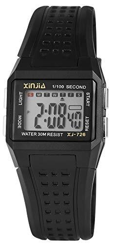 XINJIA - Reloj Digital de Pulsera para Mujer, Color Negro, con Caja de Cuarzo, Silicona, para niños, con Alarma, luz, cronómetro, Fecha