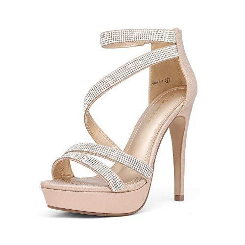 DREAM PAIRS Women's Champagne Pearl Rhinestone Open Toe High Stilettos Ankle Strap Platform Heel Sandals Fashion Dress Pumps Wedding Bride Shoes Size 9 US Araya-1