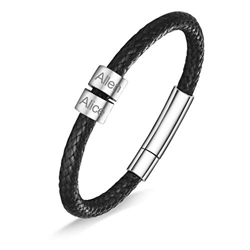 Regalo Hombre Pulseras de Cueros Cadenas Negras 22cm de Hilos Trenzados 2 Beads con Nombres Personalizados Joyerías Modernas de Decoraciones