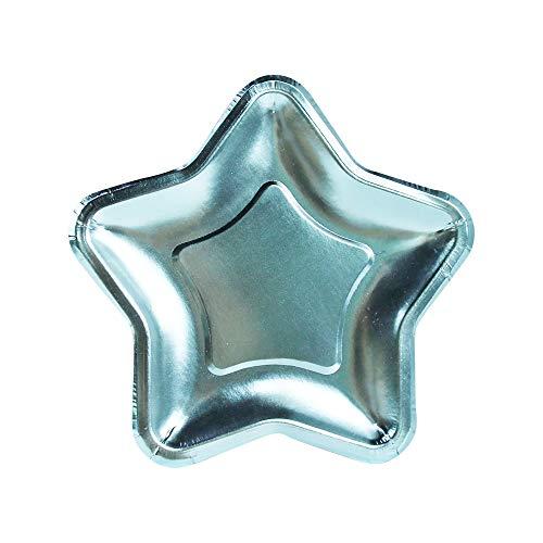 InviteMe 10 Starlight Kuchen-Papp-Teller in Sternen-Form mit metallisch glänzender Hellblauer Folien-Beschichtung