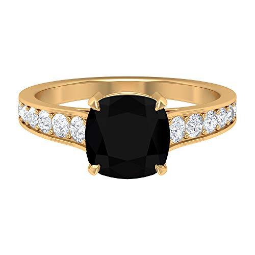 Anillo solitario de diamante negro de 3 CT creado en laboratorio con acento moissanita (8 mm, diamante negro creado en laboratorio), 14K Oro amarillo, Size:EU 68