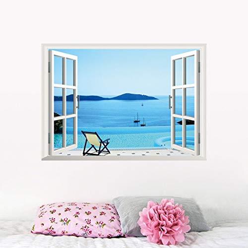 Qjhdg 3D Fenster Wandtattoo Meer Villa Pool Freizeit Mode Tapete Wohnzimmer Schlafzimmer Hintergrund Wandaufkleber 48X68 Cm