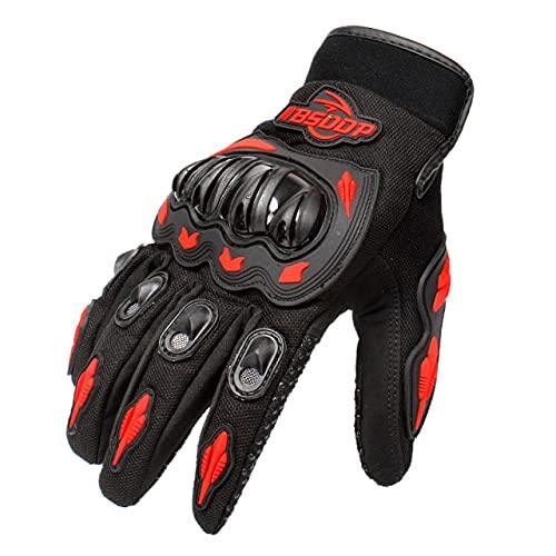 Guantes de Motocicleta Invierno Verano Transpirable Guantes de Carreras de Dedos completos Protección para Deportes al Aire Libre Guantes de Bicicleta de Cross Dirt Bike-Red-2-XXL