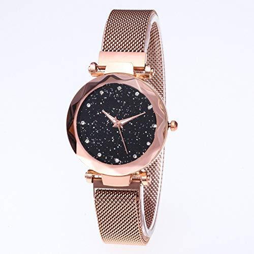 xiaoxioaguo - Reloj de pulsera para mujer, diseño de cielo estrellado, correa de malla