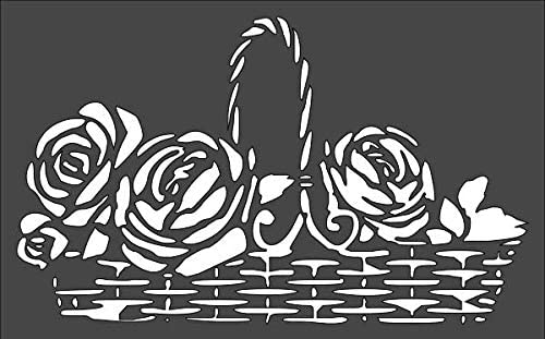1- overseas 7x11 inch Custom Cut Stencil Basket Rose Arts and NC-15 Outlet ☆ Free Shipping Cr