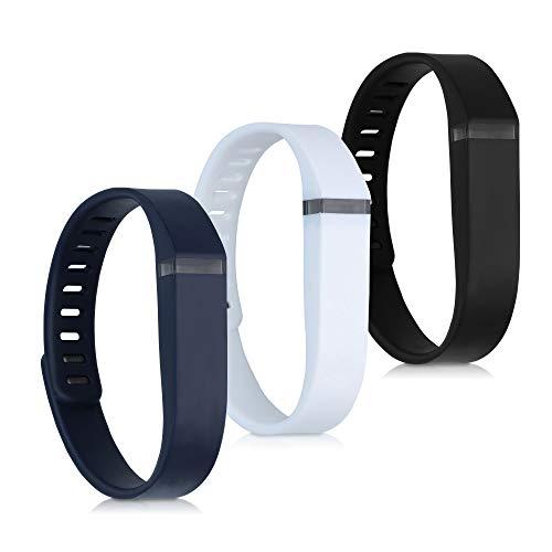 kwmobile 3X Pulsera Compatible con Fitbit Flex - Brazalete de Silicona en Blanco/Azul Oscuro/Negro sin Fitness Tracker