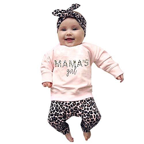 Obestseller Kinder Unisex,Sommerkleidung für Kinder,Neugeborenes Baby Kleidung Brief drucken Strampler Tops + Lange Hosen + Hut 3PCS Outfits (70, Rosa A)