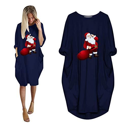 LOPILY Weihnachtskleid Damen Plus Size Jumperkleid Locker mit Elk Druck Umstand Strickkleid Weihnachten Sweatkleider Reindeer Oversize Hoodie Kapuzenpullover Freizeit Shirtkleid Winter (Royalblau, 42)