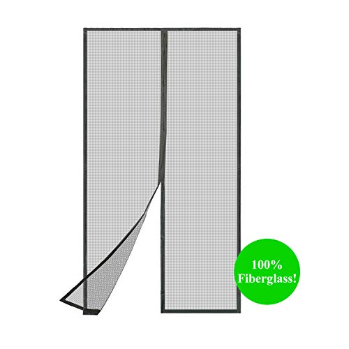 """TheFitLife Fiberglass Magnetic Screen Door - Heavy Duty Mesh Curtain with Full Frame Hook and Loop Powerful Magnets That Snap Shut Automatically (36""""x83"""" Fits Door Size up to 34""""x82"""" Max)"""