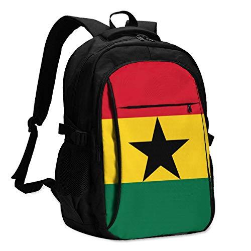 XCNGG Bandera de Ghana Mochila para computadora portátil de Viaje Mochila Escolar universitaria Mochila Informal con Puerto de Carga USB