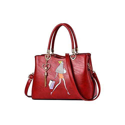 Tisdaini Bolsos de Mano Mujer Moda impresión Bolsos Bandolera Bolsos Totes Shoppers y Bolsos de Hombro Vino Rojo