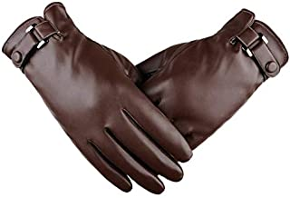 Touch screen men's gloves simulation washed leather gloves ribs autumn and winter velvet thick Korean fashion driving wint...