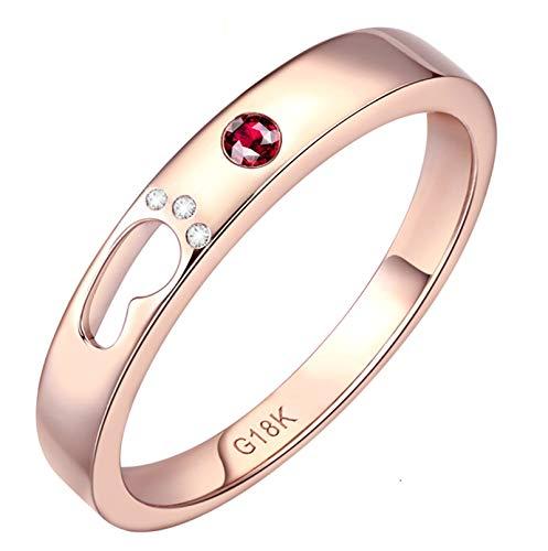 KnSam Damen Ringe In Gold Ring Gold 18K Damen Fußabdruck Der Liebe Natürlichen 0.03 Karat Rubin 0.02 Karat Südafrikanischer Diamant Rose Gold