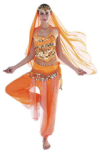 Seawhisper Adult Genie Outfit Arabian Nights Costume Women Belly Dance Outfits Orange