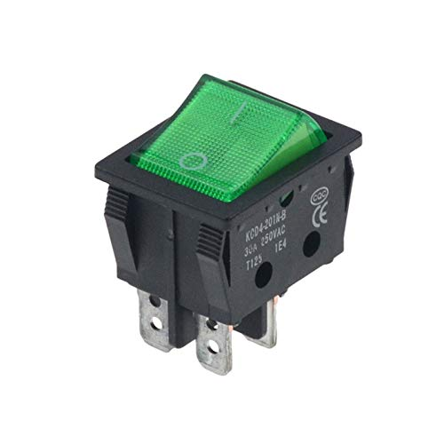 JSJJATQ Interruptores 1pcs Rocker Switch On-Off 2 Posición 4 Pines 6 Pines Equipo eléctrico con Interruptor de luz 30A 250VAC (Color : Green 4 Feet, Size : 1PCS-1)