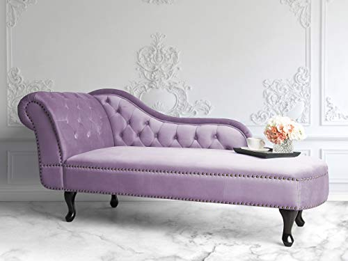 Beliani Retro Chaiselongue Samtstoff Chesterfield Style linksseitig rosa Nimes