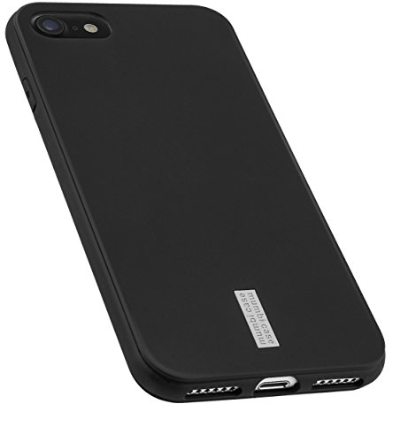 mumbi Hülle kompatibel mit iPhone SE 2 2020/7 / 8 Handy Hülle Handyhülle, anthrazit mit grauem Streifen