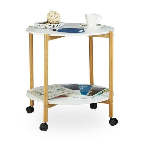 Relaxdays bijzettafel met wieltjes, ronde koffietafel met 2 niveaus, verrijdbare salontafel voor universeel gebruik, wit