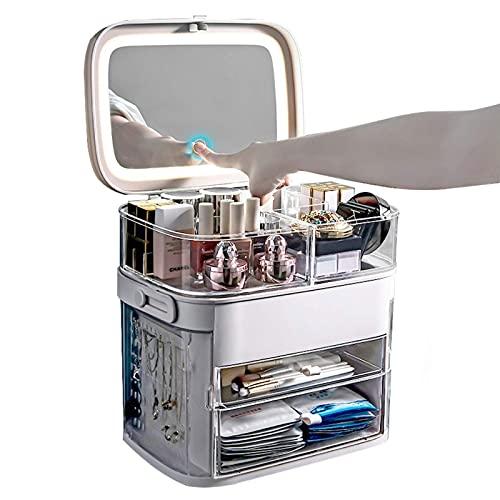 YXYH LED Luz Organizador De Maquillaje Ajustable Vitrina De Maquillaje De Almacenamiento Cosmético, Se Adapta A Pinceles De Maquillaje De Joyería Y Barras Labios