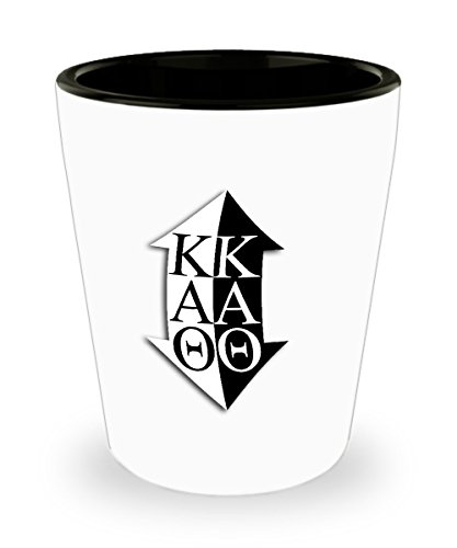 Kappa Alpha Theta - Sorority Shot Glass - Sisters Pledges House Gift - One 1.5oz Ceramic Jigger Toothpick Holder Pill Cup