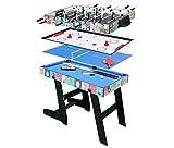 hj HLC Mesa Multijuegos Plegable 4 en 1 Mesa de Billar,Ping Pong,Hockey y Futboln (109 x 60,5 x 82 cm) Buen Regalo para Las Fiestas Juegos Entre Familia