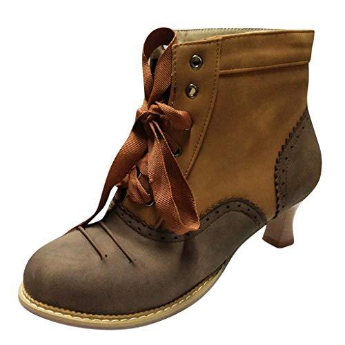 Winter Stiefeletten Damen Thick High Heel Scrub Ankle Boots Schnürstiefel Studenten Schuhe Stiefel(37 EU,Braun)