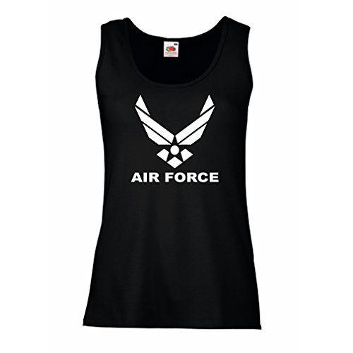 lepni.me Camisetas sin Mangas para Mujer United States Air Force (USAF) - U. S. Army, USA Armed Forces (XX-Large Negro Blanco)
