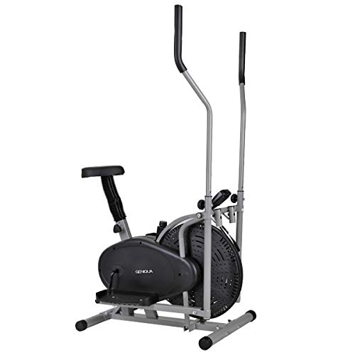 Geniqua Elliptical Trainer Stationary Bike 2 in 1 Exercise Machine Indoor Home Gym Fitness Cardio Workout with LCD Display Cushion