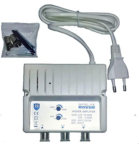 Amplificador DE Antena TV TDT para Interior Rover 30 dB con Filtro rechazo 5G