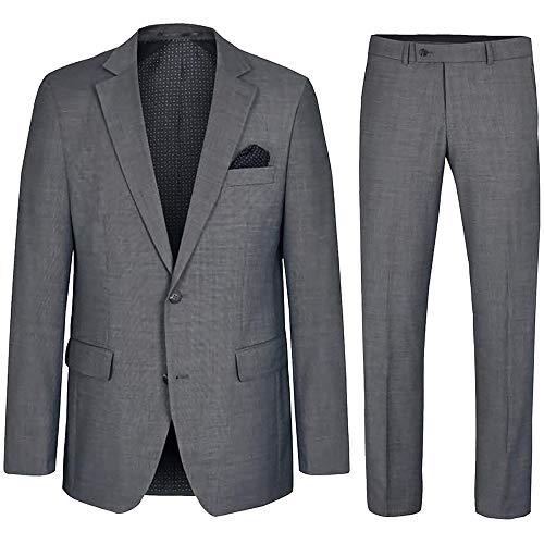 Paul Malone Herren Anzug grau Regular fit - Schurwolle - Herrenanzug 2-Teilig Sakko und Hose Gr. 102