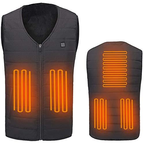 USB Beheizte Weste Intelligente Temperaturregelung Far Infrared Heizung Waschbar Jacke Für Einen Mann Eine Frau Winter Outdoor Sport,Schwarz,XL