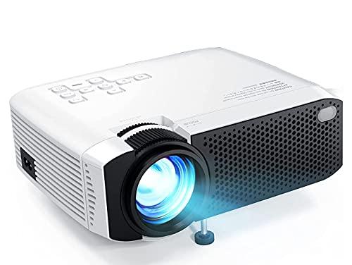 Xyfw Mini proyector 1080P Full HD Compatible, Pantalla de 180 '' HDMI, USB, VGA, AV, Micro SD Altavoces duales Proyector doméstico de 50000 Horas