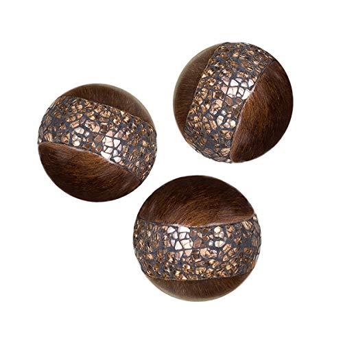 Schonwerk Walnut Decorative Orbs for Bowls and Vases (Set of 3) Resin...