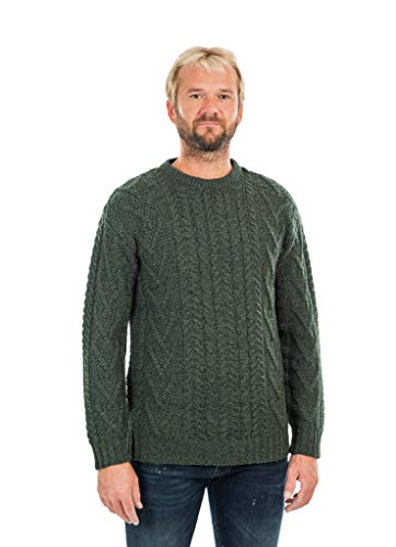 Mens Traditional Aran Crew Neck Sweater (Army Green, Medium)