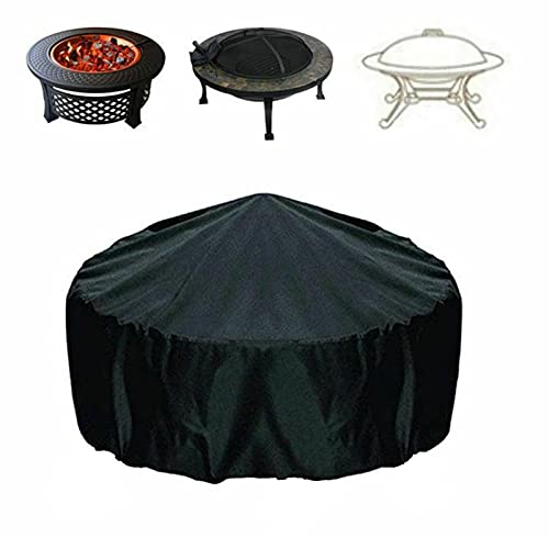 CSYHJRS Oxford Fabric Round BBQ Cover, Water-Resistant, Indoor Outdoor Rain Dust Protection Barbecue Cover, Waterproof, Windproof, Rip-Proof& UV Resistant, Black (Size : 204x60cm)